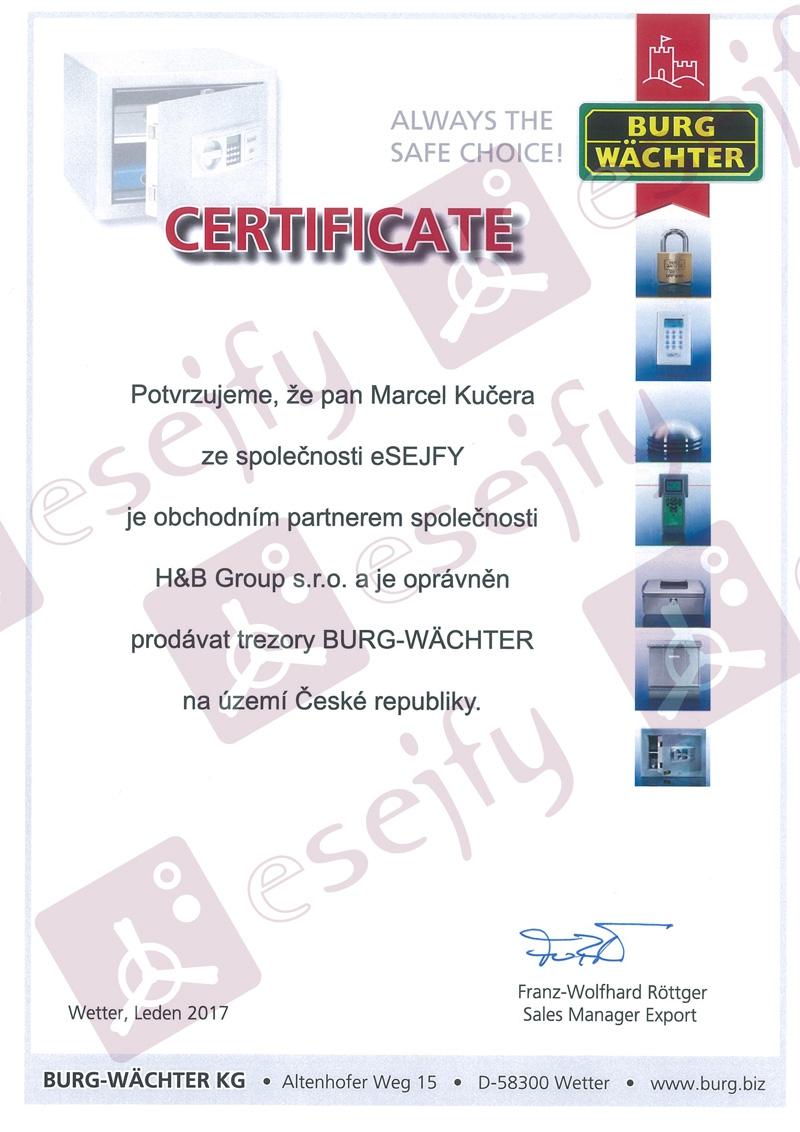 certifikát Burg-Wächter